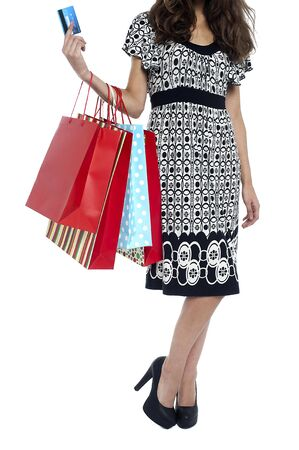Cropped image of a shopaholic woman holding shopping bags and cash card. Stock Photo - 17490085