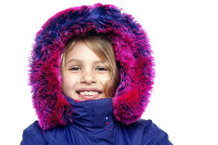 Face closeup of a beautiful female child in eskimo jacket, white background photo