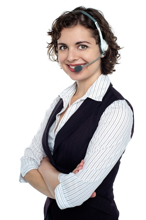 Portrait of a confident call centre executive with headphones on. Stock Photo - 17959389