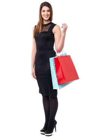 Gorgeous young woman in sleeveless dress carrying shopping bags. Stock Photo - 17988834