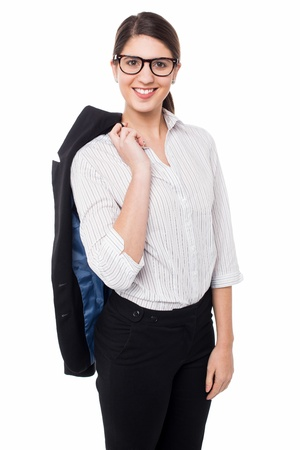 blazer: Pretty young woman with a blazer slung over her shoulder.
