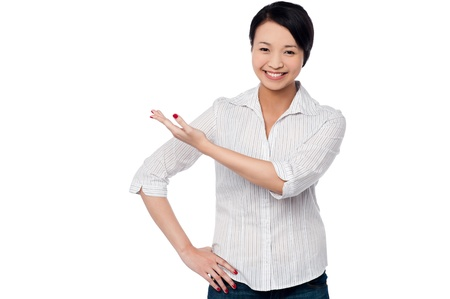 half  length: Casual half length portrait of cute chinese girl Stock Photo