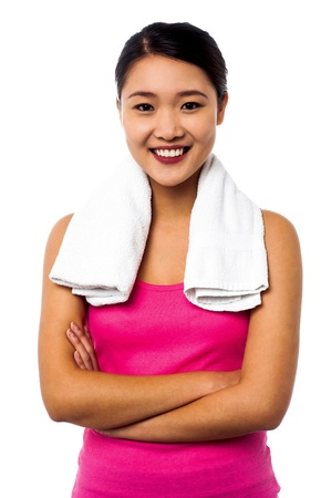 Casual young Chinese female model over white  Stock Photo - 20195483