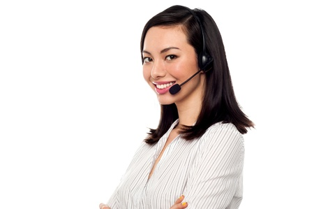 Young confident call centre executive at your assistance