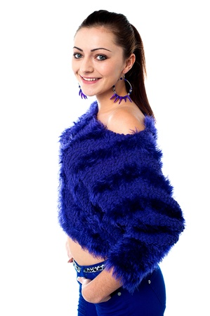 off the shoulder: Beautiful young female in fashionable furry blue off shoulder top