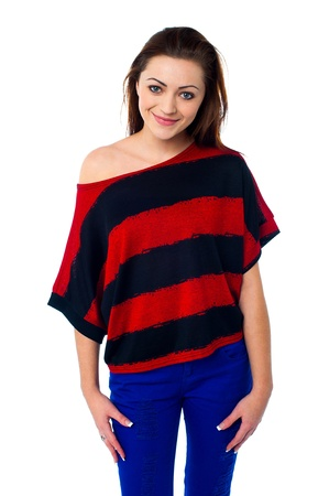 off the shoulder: Gorgeous young girl wearing striped off shoulder top