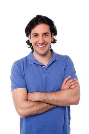 half  length: Half length portrait of a cheerful casual man