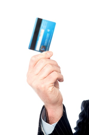 Cropped image of a man holding out cash card photo