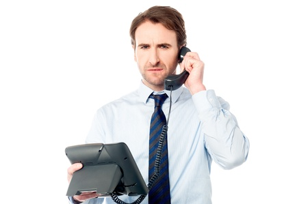 Serious professional listening to customers complaint photo