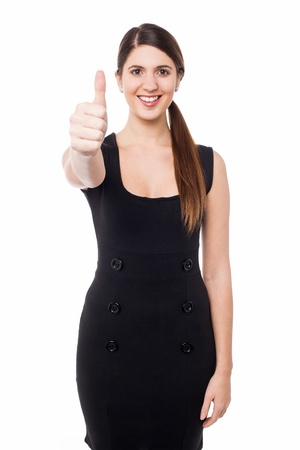 yup: Smiling beautiful woman with success gesture