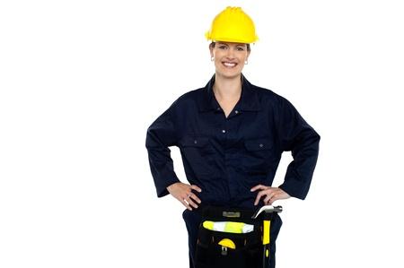 Confident female civil engineer posing casually photo