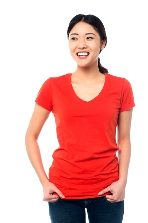 stylishly: Young female in casuals posing stylishly Stock Photo
