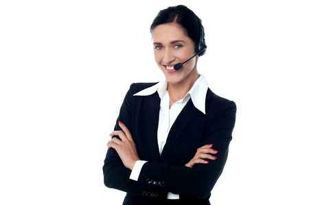 Customer support executive posing confidently photo