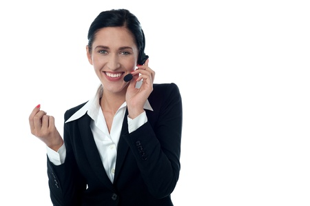 Friendly customer support executive over white photo