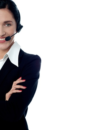 Female customer support staff, cropped image photo