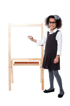 marker pen: Girl about to write on whiteboard with marker pen