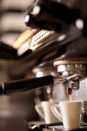 Process of preparation of coffee, a closeup Stock Photo