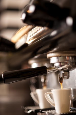 machine: Process of preparation of coffee, a closeup Stock Photo