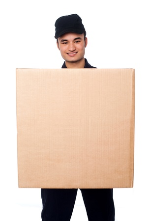 Guy delivering parcel at your doorstep photo