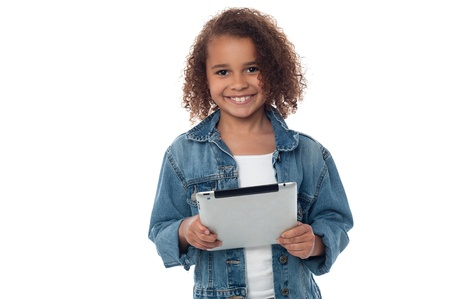 portable information device: Pretty girl holding touch pad device