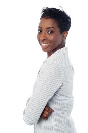 ležérní: Přesvědčen, žena na bílém pozadí