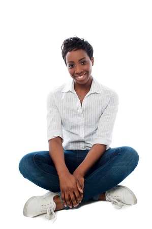 casuals: Smiling african woman dressed in casuals