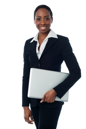 formals: Businesswoman in formals holding laptop