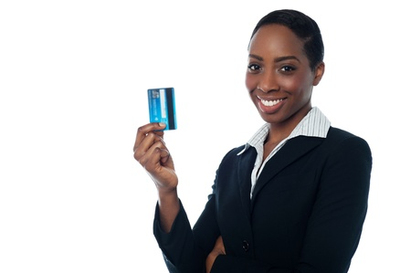 Corporate lady holding up credit card photo