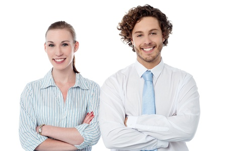 Confident business colleagues over white background photo