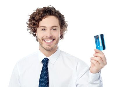 swap: Corporate executive displaying his credit card