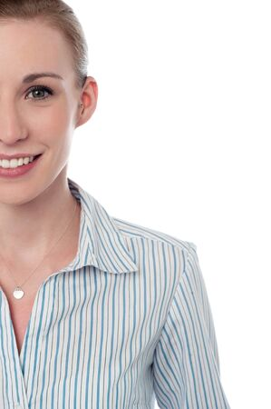 Happy young business woman, cropped image photo