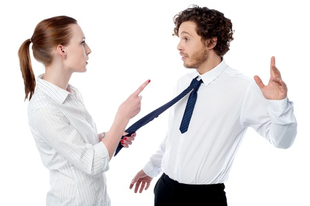 Female executive scolding her coworker photo