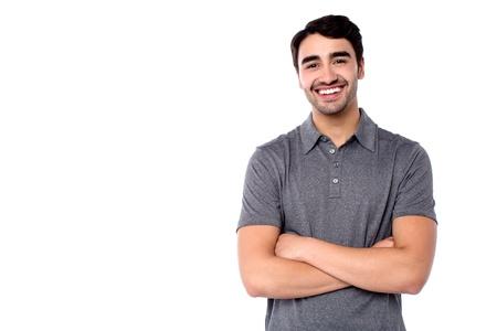 half  length: Half length portrait of smiling casual guy