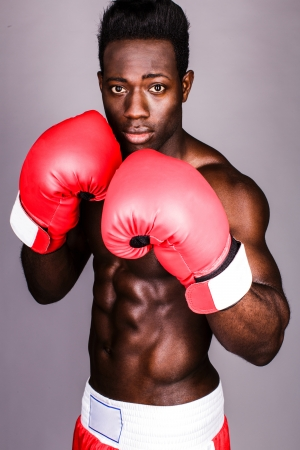 Black african boxer ready to fight, defend posture Stock Photo - 21418662