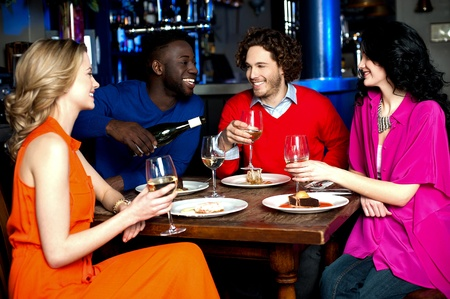Group of party lounge friends having great time photo