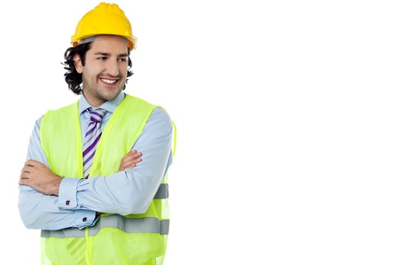 Confident architect with jacket and hard hat photo