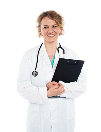 Physician with stethoscope and clipboard photo