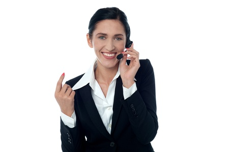 Customer support executive answering customer's call photo
