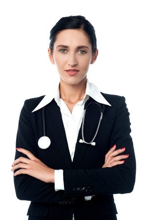Young medical professional with stethoscope photo