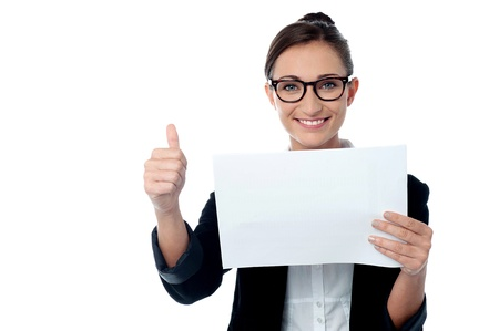 yup: Company manager showing thumbs up gesture