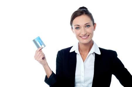 debit card: Female executive showing her debit card