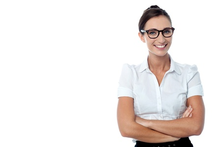 formals: Cheerful bespectacled businesswoman in formals Stock Photo
