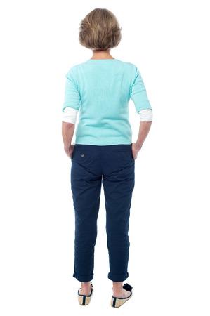 Rear view of a senior citizen in trendy wear