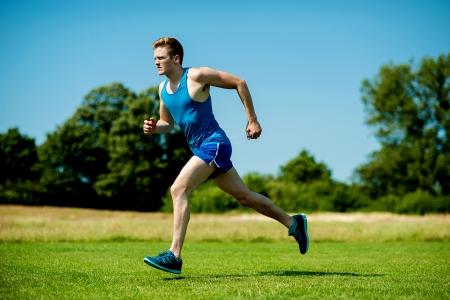 stamina: Young athlete practicing, increasing his stamina.