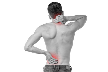 Young man having neck and backache