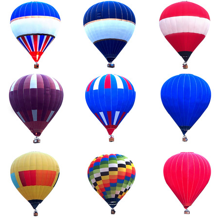 hot spring: Collage of multicolored hot air balloons