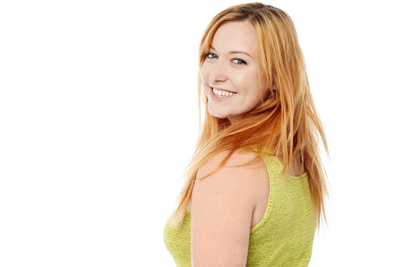 casuals: Smiling young woman in trendy casuals