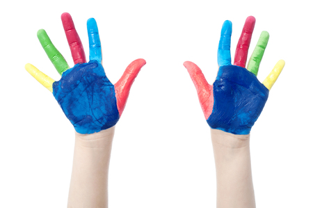 The two colorful hands with many colors photo