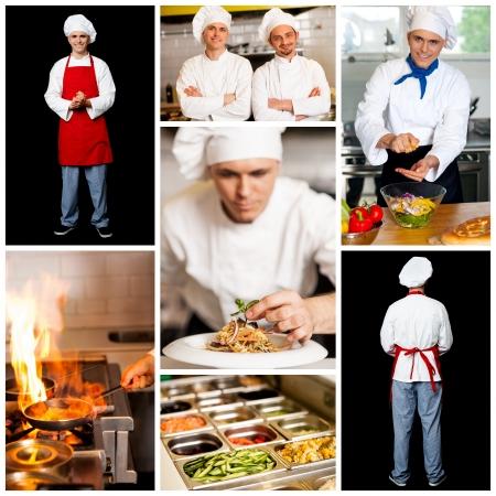 Restaurant chefs, collage concept