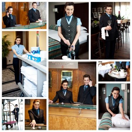 recepcion: Hotel collage personal de limpieza en el trabajo Foto de archivo